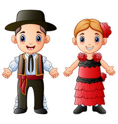 Cartoon spanish couple wearing traditional costume vector