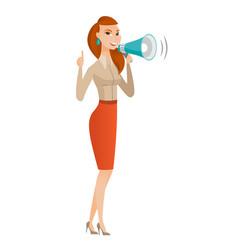 Caucasian business woman talking into loudspeaker vector