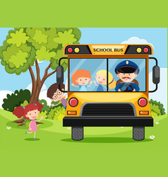Children and bus driver on school bus vector
