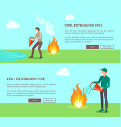 Civil extinguish fire set of posters with text vector
