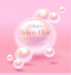 Collagen beauty elixir label cosmetic anti age vector