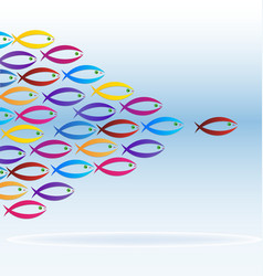 Colorful school of fish icon vector