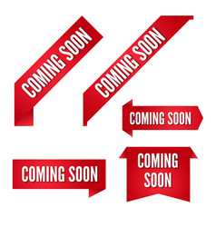 coming soon red ribbon banners collection vector image