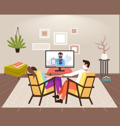 Couple sitting at home on self-isolation man woman vector