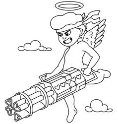 cupid line art vector image