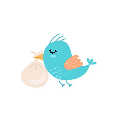 cute bird carrying baby bag baby shower isolated vector image