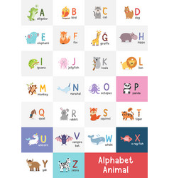 cute cartoon animals alphabet for children vector image