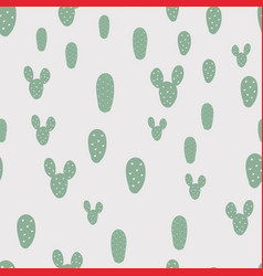 cute seamless pattern with green cactus background vector image