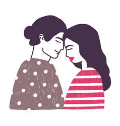 Drawing of cute young romantic couple or pair of vector