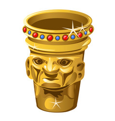 Ethnic golden vase with human face isolated on a vector