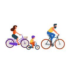family riding bikes together vector image