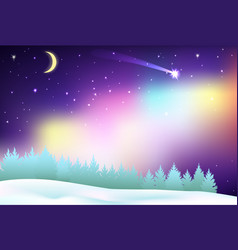 fantastic northern lights over the pine forest and vector image