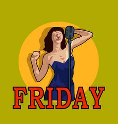 female singer in karaoke jazz or blues club live vector image