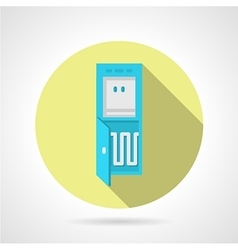 Flat water cooler yellow round icon vector