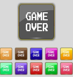 Game over concept icon sign Set with eleven vector image