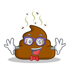 Geek poop emoticon character cartoon vector