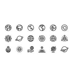 Globe line icons world sphere with longitude vector