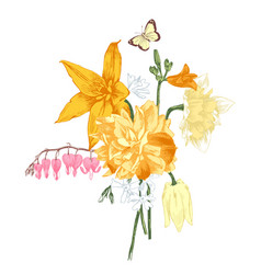 Hand drawn bouquet of spring flowers vector