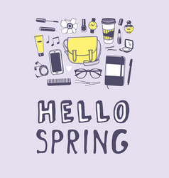 hand drawn spring fashion wear and quote hello vector image