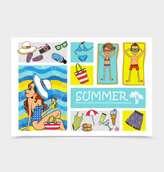 hand drawn summer vacation elements set vector image