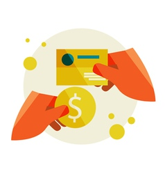 Hand holding a business card and a coin vector image