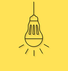 Hanging thin line led bulb vector