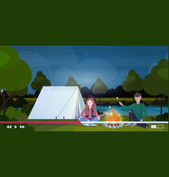 hikers bloggers roasting marshmallow candies vector image