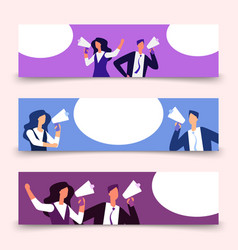horizontal banners template with woman and man vector image