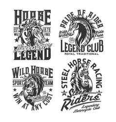 Horse racing t shirt prints equestrian sport club vector