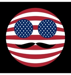 Icon of American flag with mustaches in globe form vector image