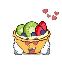 In love fruit tart mascot cartoon vector