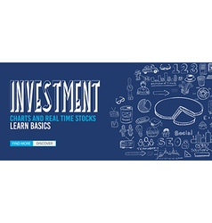 Investment Chart concept with Doodle design style vector image