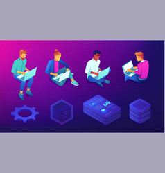 Isometric people with laptops and technology vector