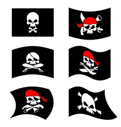 Jolly roger pirate flag skull and crossbones vector