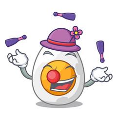 Juggling freshly boiled egg isolated on mascot vector