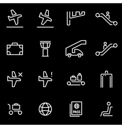 line airport icon set Trendy flat line vector image