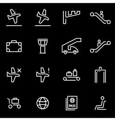 Line airport icon set trendy flat vector