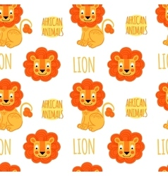 Lion with lettering seamless pattern vector