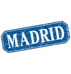 Madrid blue square grunge retro style sign vector