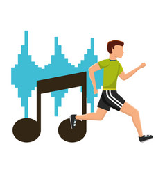 Man running sport exercise with note musical vector