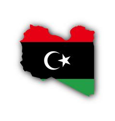 Map and flag libya vector