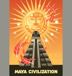 Maya civilization vertical poster vector