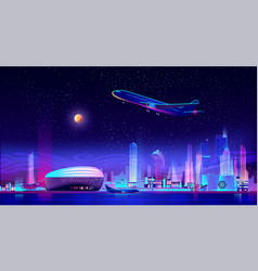 Metropolis airport cartoon background vector