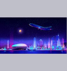 metropolis airport cartoon background vector image