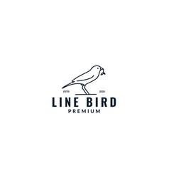 Minimalist canary bird line with leaves logo vector
