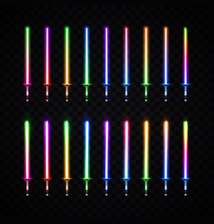 Neon light gradient swords set luminous weapon vector
