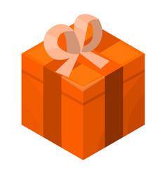 orange gift box icon isometric style vector image