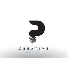 P brushed letter logo black brush letters design vector