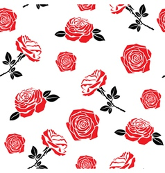 pattern red flowers roses vector image
