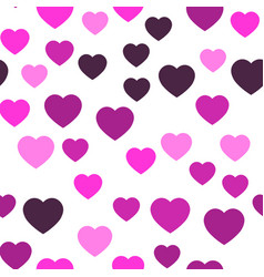 pink hearts seamless pattern random scattered vector image